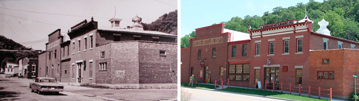 Original Whispering Bluffs winery building photo and current building photo