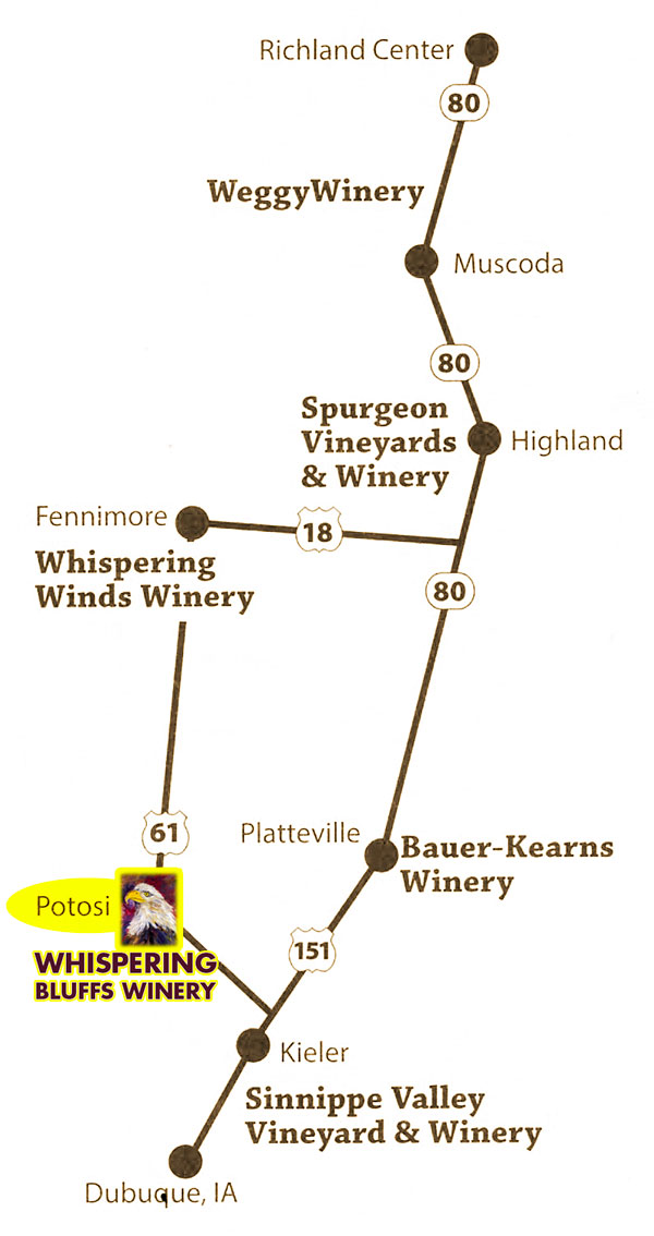 Southwest Wisconsin Wine Trail map 2015